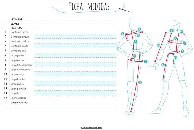 Aquí puedes descargar una ficha para las medidas de mujer. Una práctica hoja con todas las medidas necesarias para coser.