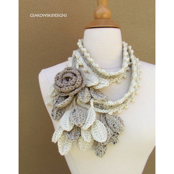 Wild Rose ScarfLariatNatural by gsakowskidesigns on Etsy found on Polyvore