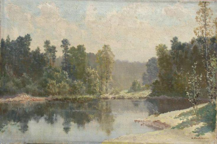 Konstanty MACKIEWICZ ,Pejzaż leśny z wodą , olej, płótno, 34 x 51 cm