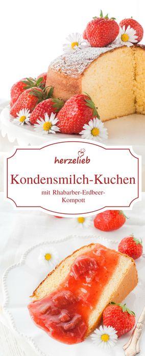 Erdbeeren Rezepte  Rhabarber Rezepte:  Leckerer Kuchen mit Kondensmilch und Rhabarber-Erdbeer-Kompott!