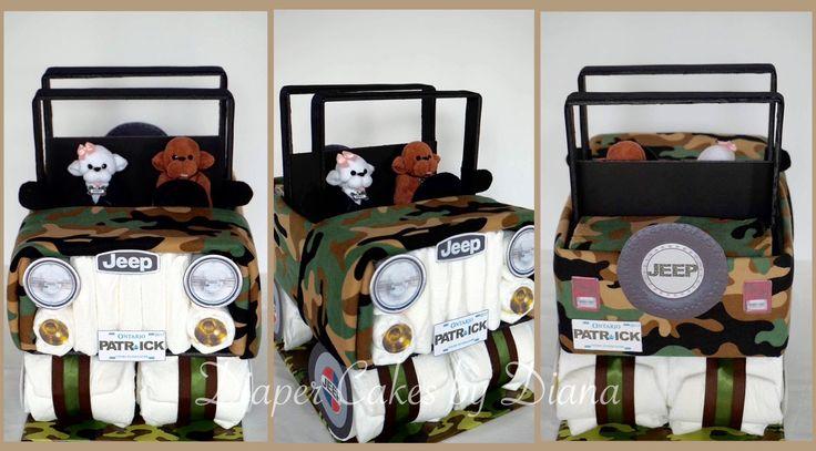 Camo Jeep Diaper Cake www.facebook.com/DiaperCakesbyDiana
