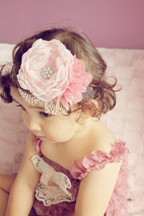 baby headband...baby girl heaband...fall blush pink headband...photography prop..tea party