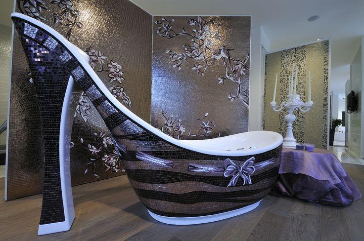 vasca mod.Audrey, mosaico artistico. www.stanzedautore.it