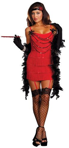 Sexy Flapper Costume - Ruby Red - stretch knit dress