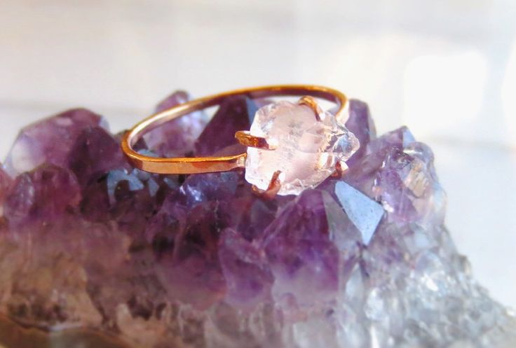 Raw Rose Quartz Ring, Rough Pink Stone Ring, Quartz Crystal Rose Gold, Gemstone Nugget Ring Silver, Made To Order Size 4 through Size 10 by AlisonTitusJewelry on Etsy https://www.etsy.com/listing/385542408/raw-rose-quartz-ring-rough-pink-stone