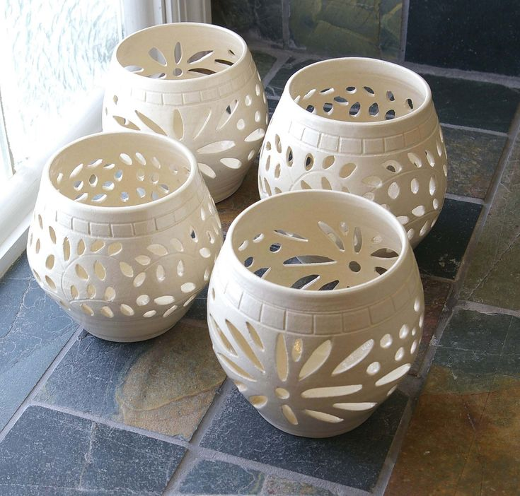 Handmade Clay,Stoneware, Pottery, White Wedding Candle Luminary, Cross,Candle Holder, Votive, Ceramic Lantern, Vase, Contemporary, Modern. $26.00, via Etsy.