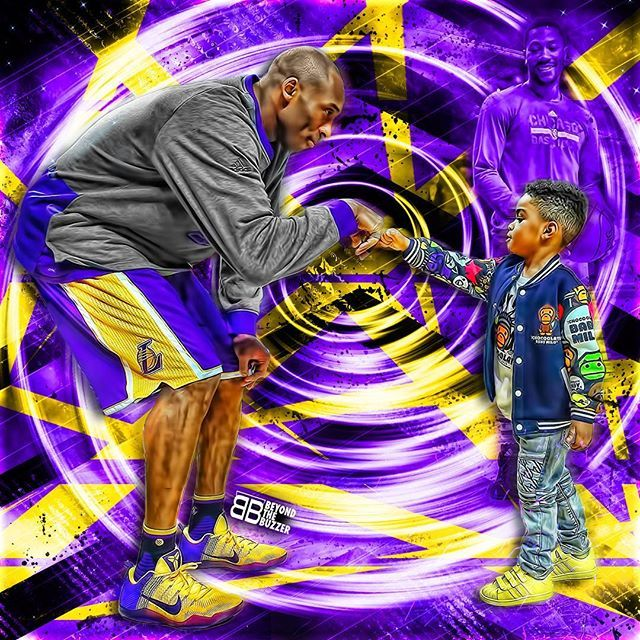 Kobe fist bumps Derrick Rose's son P.J. prior to Bulls-Lakers game tonight.