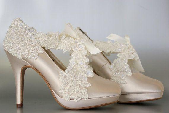 Wedding Shoes  Champagne Platform Wedding by DesignYourPedestal, $385.00