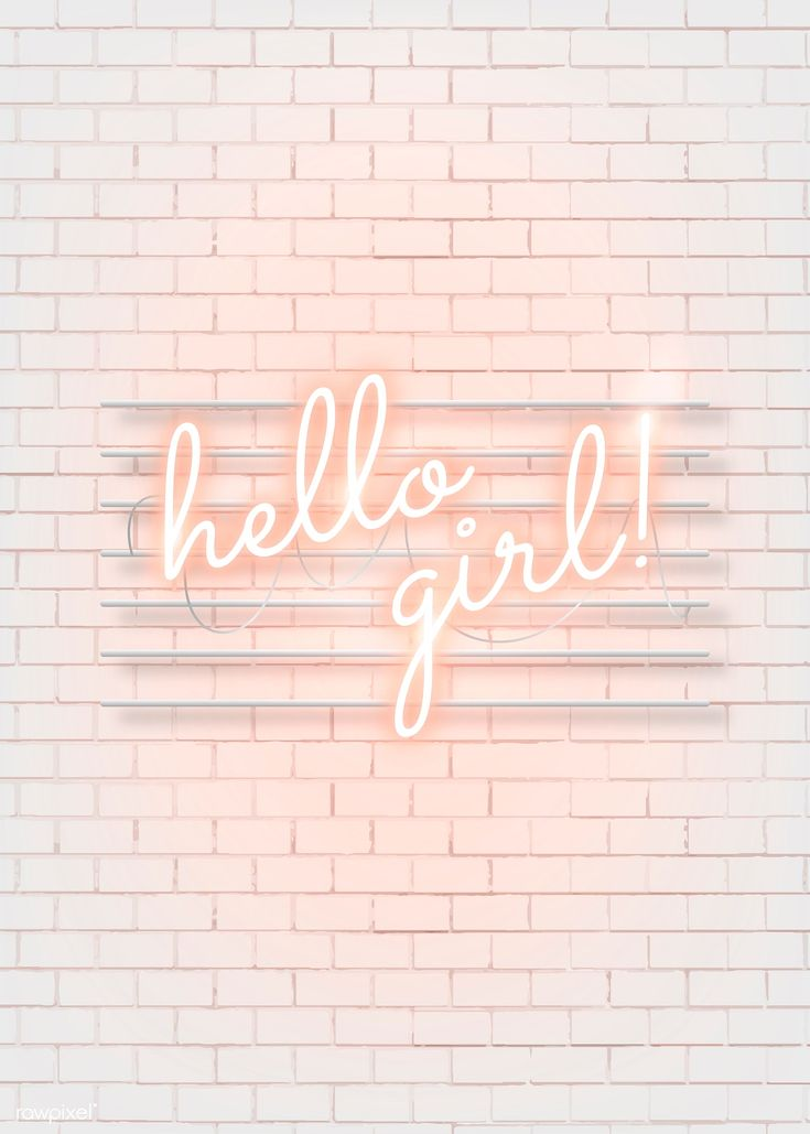 Download premium illustration of Hello girl neon word on a white brick