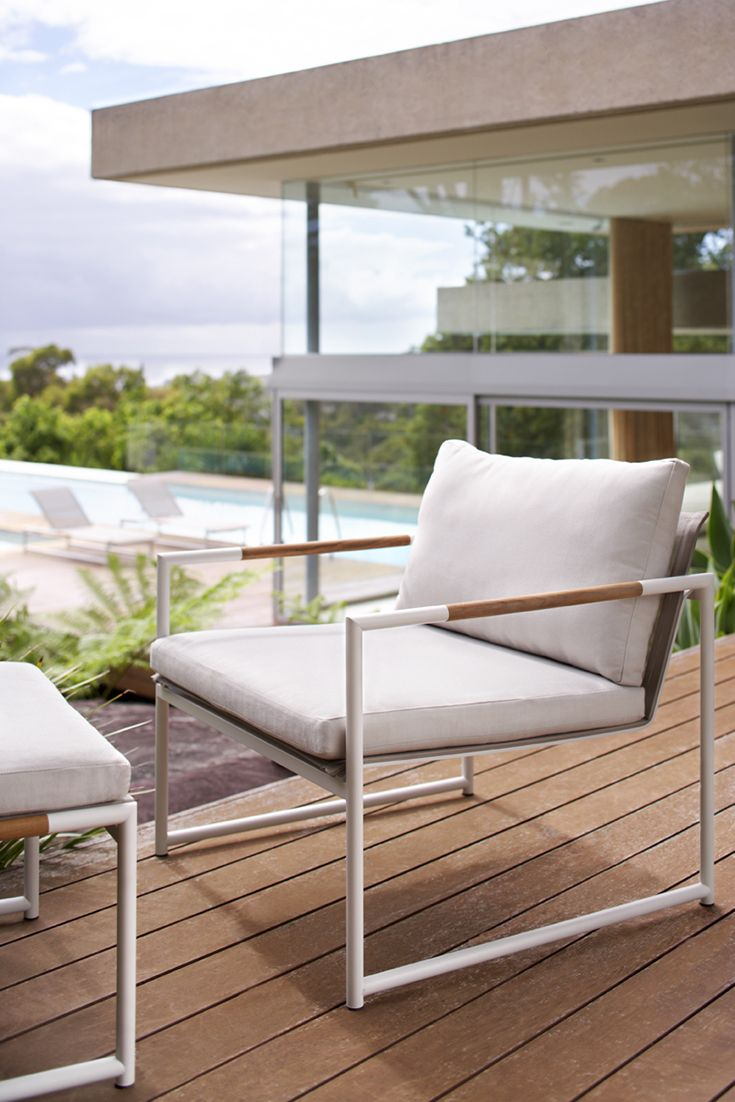 Eco Outdoor Tully lounge chair with ottoman in outdoor fabric Basics. Outdoor furniture | livelifeoutdoors |  Patio furniture | Outdoor dining | Teak outdoor | Outdoor design | Outdoor style | Outdoor luxury | Designer outdoor furniture | Outdoor design inspiration | Pool side furniture | Outdoor ideas | Luxury homes