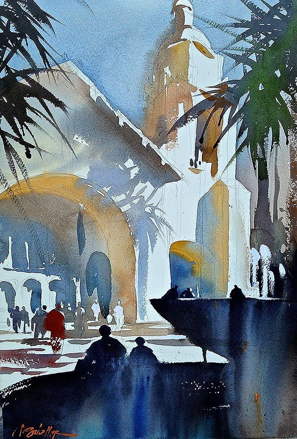 thomas w. schaller - watercolor artist Sante Fe Railroad Station - San Diego, CA. Plein-Air Demo Painting for the San Diego Watercolor Society.