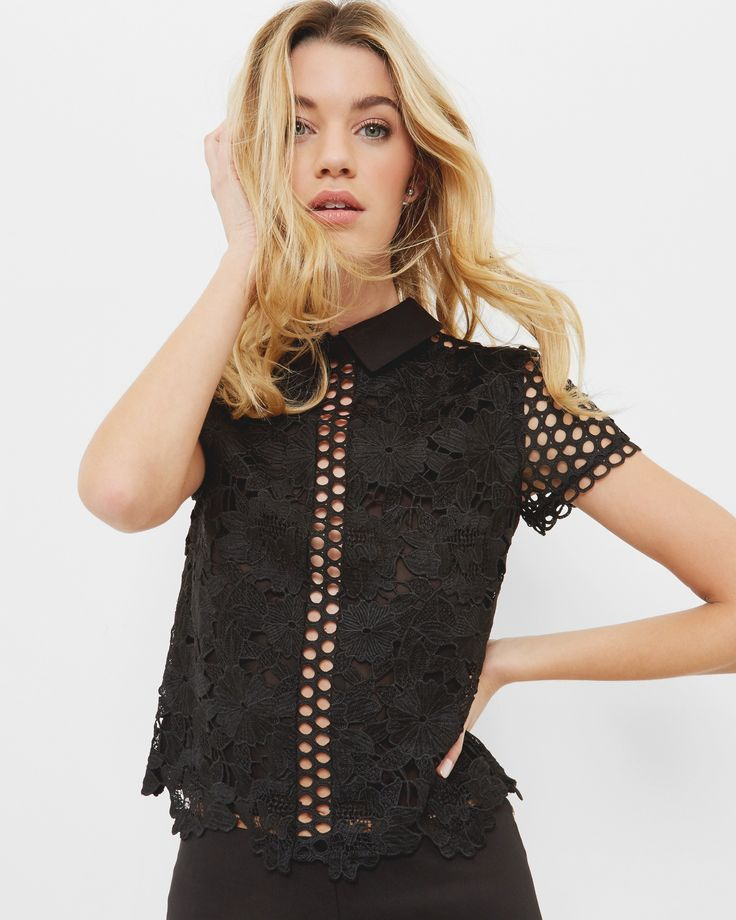 Lace collared cropped top - Black | Tops & T-shirts | Ted Baker UK