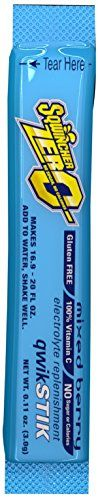"Sqwincher ZERO Qwik Stik - Sugar Free Electrolyte Powdered Beverage Mix, Mixed Berry 060101-MB (Pack of 50) - Sqwincher Sugar free electrolyte powdered Beverage mix Qwik Stik. This perfect 10 has ""life on the go"" written all over it. GRAB your water bottle, pop the top on your tube, and add that Qwik Stik for an instant electrolyte replacement and hydration. When your tube is empty, don't trash it, refil..."