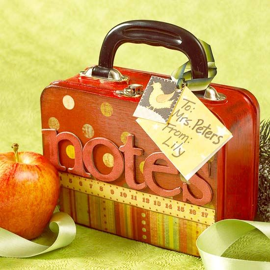 Teachers' Appreciation <3 Dress up an old-school lunch box with chipboard letters and patterned paper. Fill the lunch box with notepads, cards, or decorative note cards so the teacher will never have to shuffle through his or her desk for writing supplies. New metal boxes: http://www.lunchboxes.com/snack.html