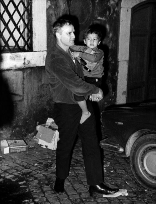Marlon Brando with his son.