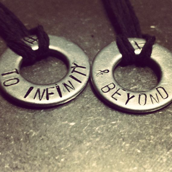 To Infinity & Beyond Hand Stamped Couple or Bestfriend Necklace Set