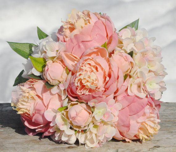 Wedding Flowers, Wedding Bouquet, Keepsake Bouquet, Bridal Bouquet made with Blush Pink Hydrangea and Peony silk flowers.