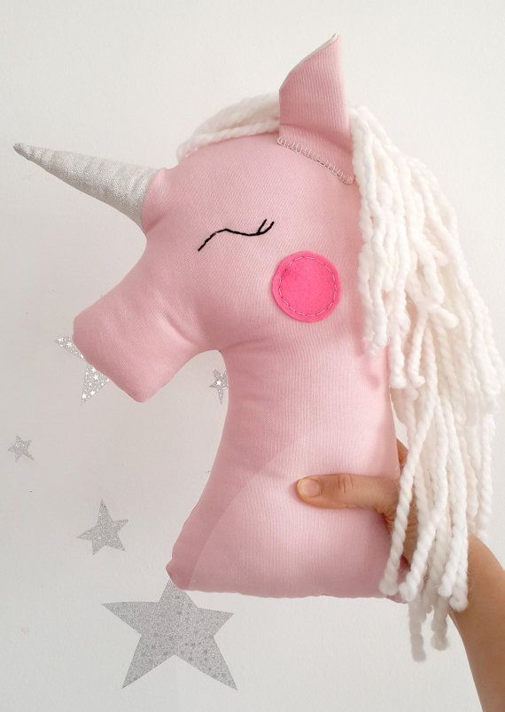 Unicorn pillow plush toy pink unicorn nursery decor by missJoyka
