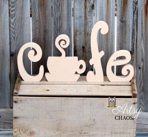 Unfinished Wood Cutout CAFE Letters Kitchen Coffee Home Decor