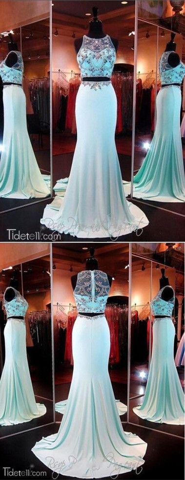 2016 prom dresses, two-pieces prom dresses, blue mermaid prom dresses