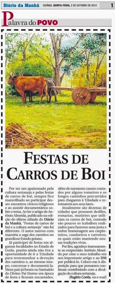 Festas de Carros de Boi: Comentário publicado no Jornal Diário da Manhã do ...