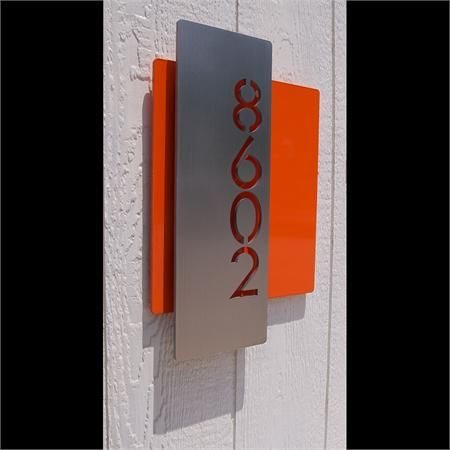 Custom Modern Layered Floating House Numbers Vertical Offset in Stainless $239 black back plate