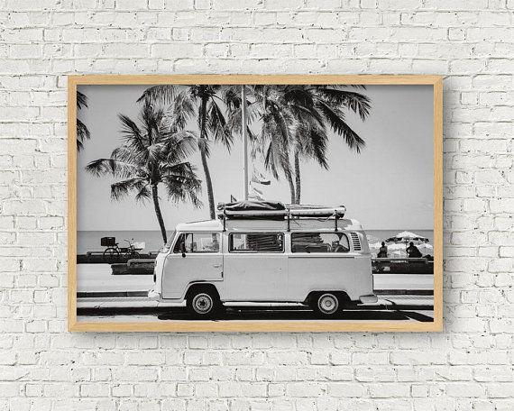 VW Camper Van Canvas Art Cheap Wall Print Home Interior