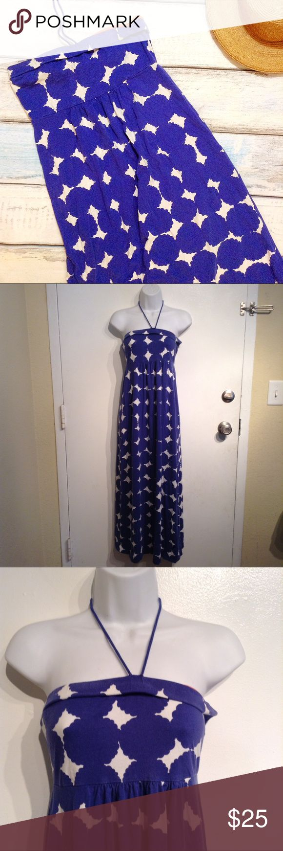 """Boden Blue & White Diamond Geometric Maxi Dress Boden blue and white geometric diamond maxi dress with halter tie strings. Could also tuck the strings and we worn strapless. Does have wash wear and the elastic band at the top is twisted. Size US 4R. Measures 13.5"""" flat armpit to armpit, 13"""" flat at waist, and 46"""" armpit to hem. No modeling. Smoke free home. I do discount bundles. Boden Dresses Maxi"""