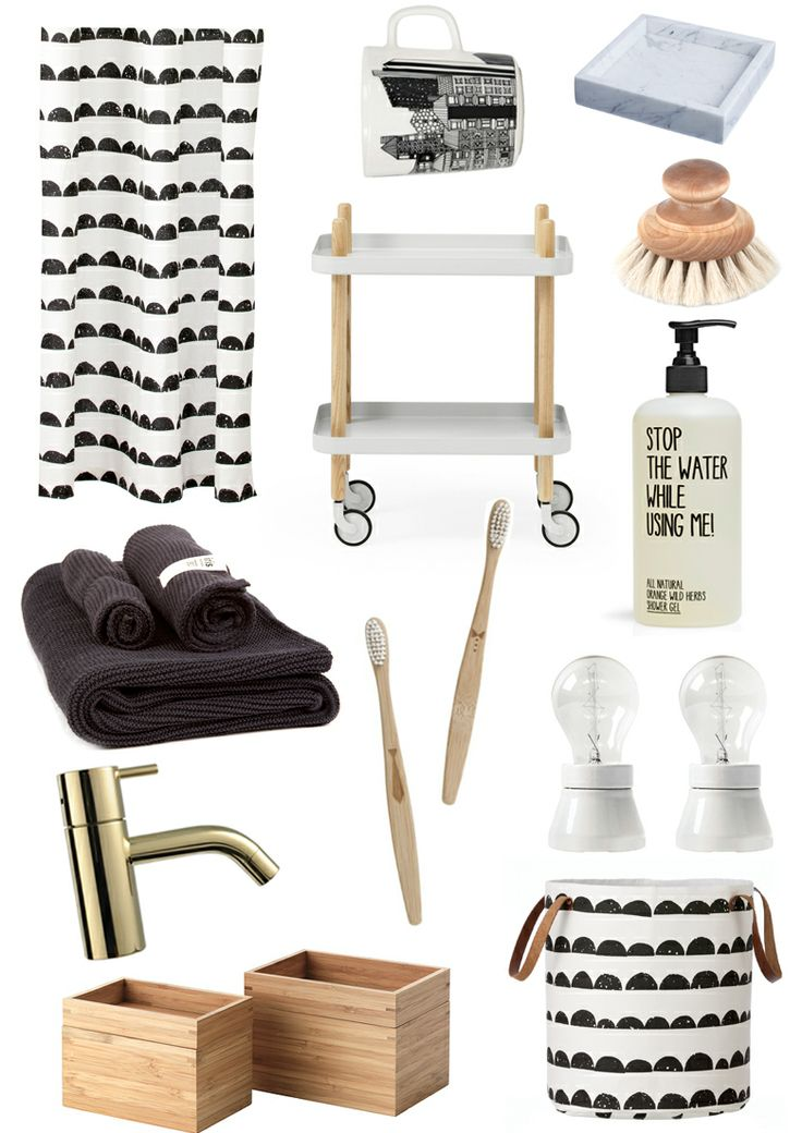 shower curtain - Ferm Living // mug - Marimekko // tray - HAY // tray table - Normann Copenhagen // brush - iris hantverk // towels - iris hantverk // toothbrush - Ferm Living // lamp - Byggfabriken // soap - stop the water, & other Stories // tap - vola // wooden boxes - IKEA // basket - Ferm Living //  via riazzoli