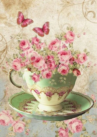Tea cup with roses & butterflies (this one does not have writing on it like all the others!) Enlève les roses et pends un thé chaud/come tu veux.