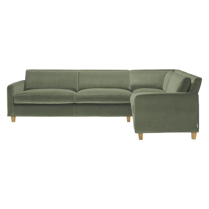 Sectional sofa CHESTER Sage green velvet left-arm corner sofa, oak stained feet