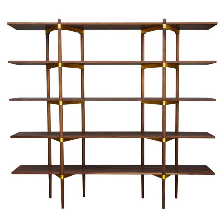 "Casey Lurie Studio Modern ""Primo"" 2/5 Shelf in Walnut with Brass Hardware 1"