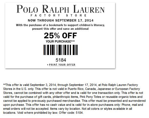 Ralph Lauren Outlet Coupon Text