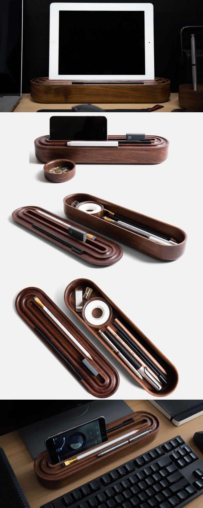 Wooden Office Desk Stationery  Organizer  Pen Pencil Holder Case Stationery Storage Box Smart Phone iPad Holder