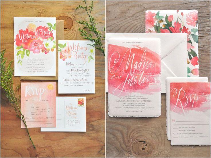 10 inspirações de Convites Aquarela | Watercolor Invitations | Blog de Casamento DIY da Maria Fernanda