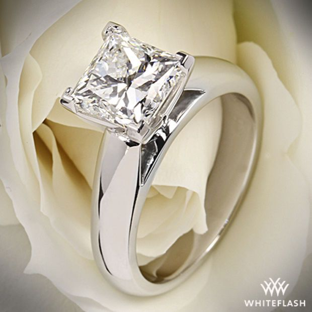 """18k White Gold """"Cathedral"""" Solitaire Engagement Ring"""