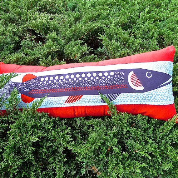 Scandinavian Fish Cushion Cover. Blue Fish Cushion. Decorative
