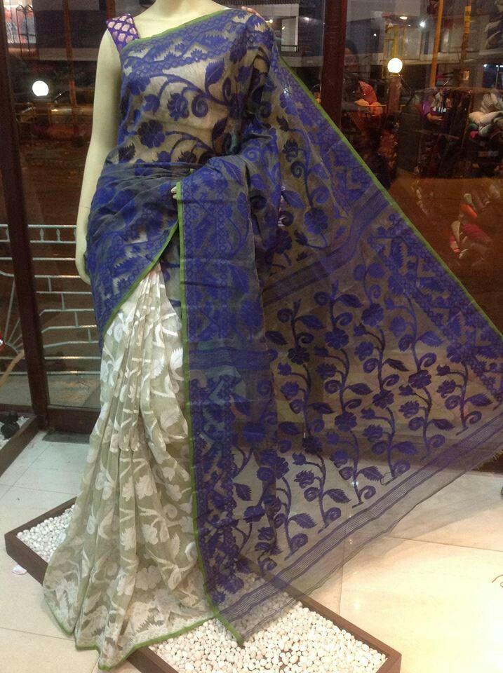Bengal Cotton Dhakai Jamdani, half n half saree