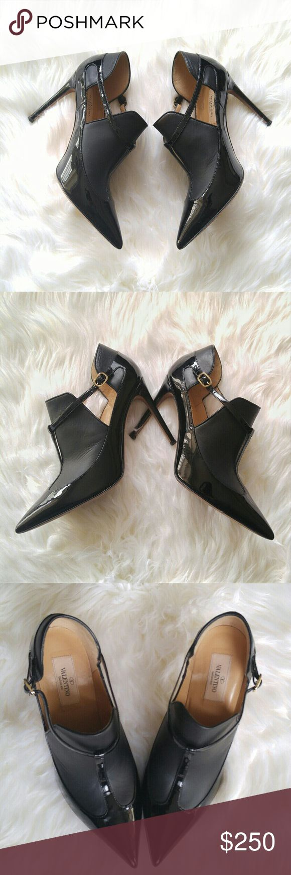Birthday Sale! Valentino T Strap Booties 38.5 Authentic matte & patent Valentino booties. These are in great condition and will come with dustbag. These will fit 7.5-8 best :) Valentino Shoes Ankle Boots & Booties