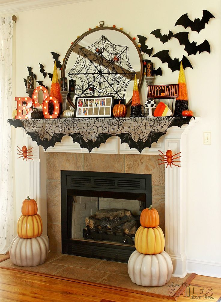 Halloween Mantel Decor Pumpkins and Spiders and Bats! Oh My! DIY