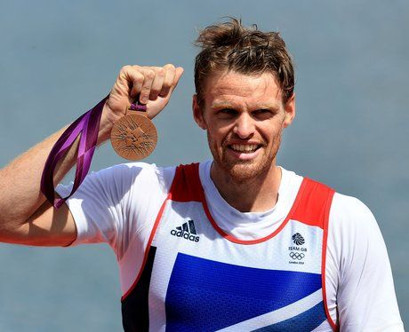 Great Britain's Alan Campbell celebrates winning bronze in the final of the Men's Single Sculls.