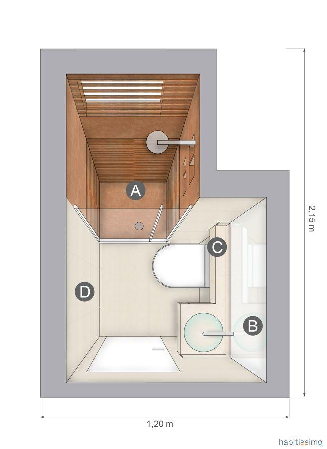 Planta baño con ducha en madera