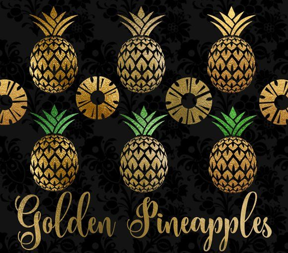 Golden Pineapples Clipart by Origins Digital Curio on @creativemarket