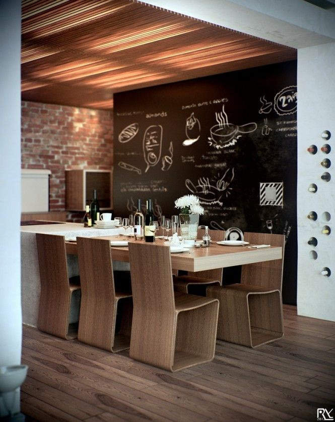 Dining area with blackboard wall. Like the blackboard as fun but also like their wine storage.