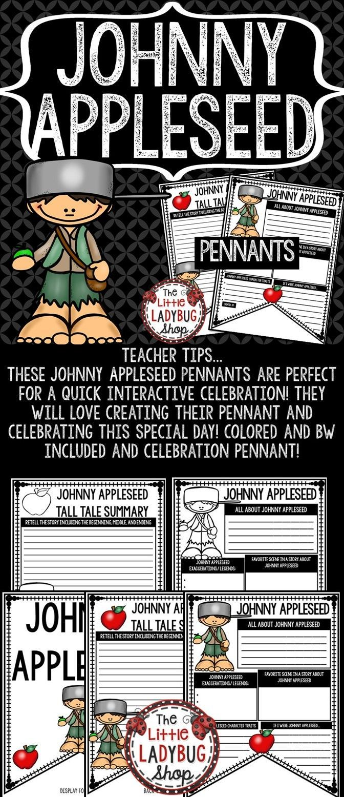 Johnny Appleseed Activity Pennant Print & Go with this Pennant! These Johnny Appleseed Posters are perfect for a quick interactive celebration with your students! We celebrate Johnny Appleseed Day or John Chapman Day on September 26th. Colored and BW included and Bulletin Board Pennant.
