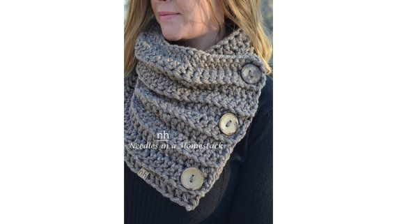 3 Button Chunky Cowl Wrap Crochet Scarf by NeedlesinaHomestack