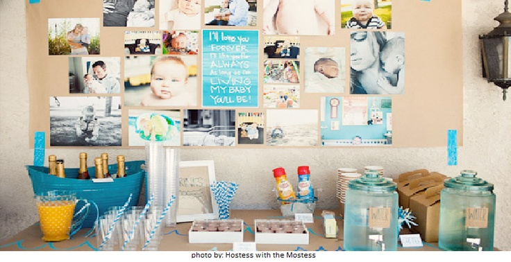 Create a poster board of photos to hang behind the food table so guests can see it #graduation #party