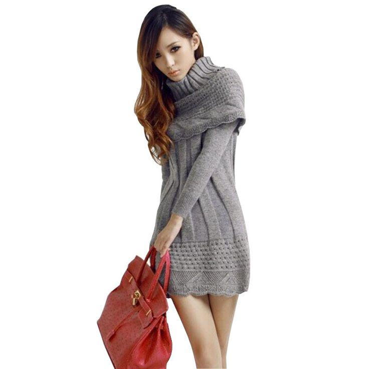 Свитера 2015 женщин мода зима свитер платье с длинными рукавами пуловеры теплый платья + шарф из двух частей отдельный полотен горячая распродажа