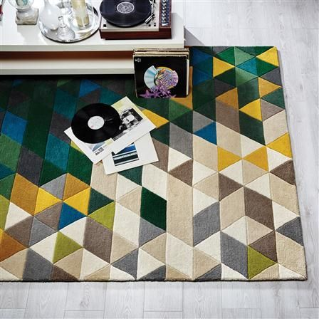 Flair Illusion Prism 120x170cm Rug, Green/Multi Coloured