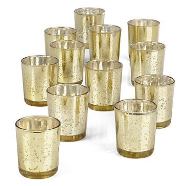 Our shimmering Gold set of 12 votive cups may be used in countless ways to bring the warmth of candlelight to your home. Exclusive.  $19.95  #ZGallerie